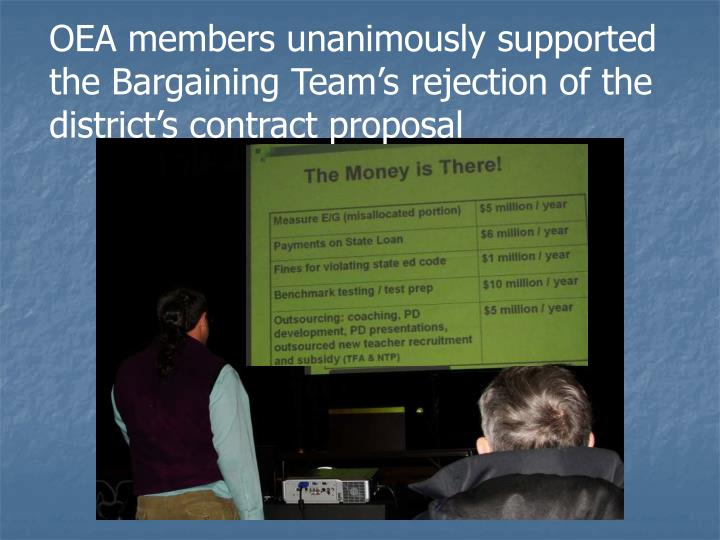 OEA members unanimously supported the Bargaining Team's rejection of the district's contract proposal