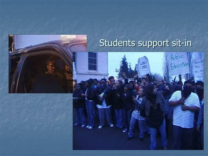 Students support sit-in