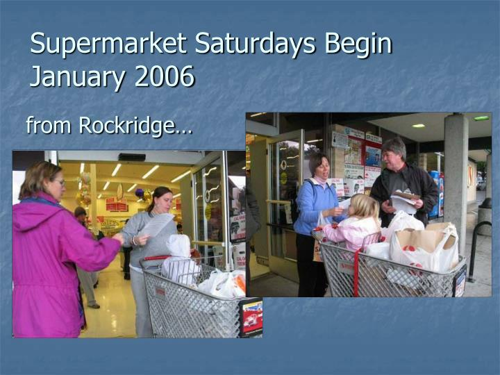 Supermarket Saturdays Begin January 2006