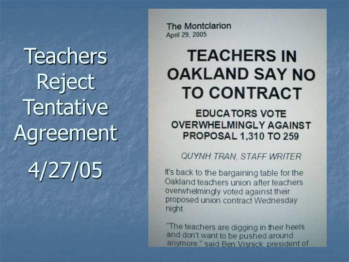 Teachers Reject Tentative Agreement
