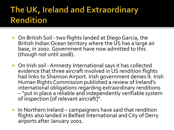 The UK, Ireland and Extraordinary Rendition