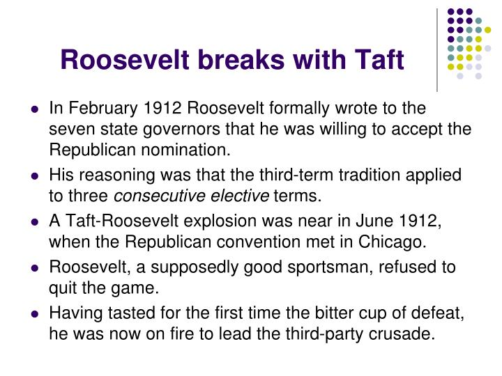 Roosevelt breaks with Taft