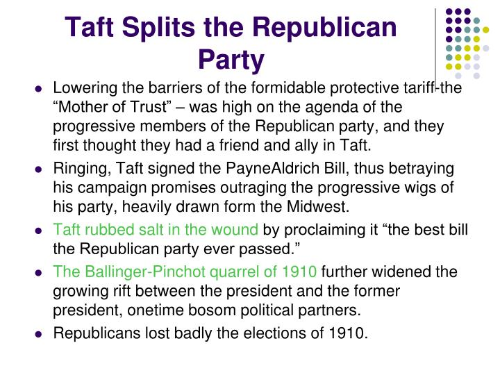 Taft Splits the Republican Party