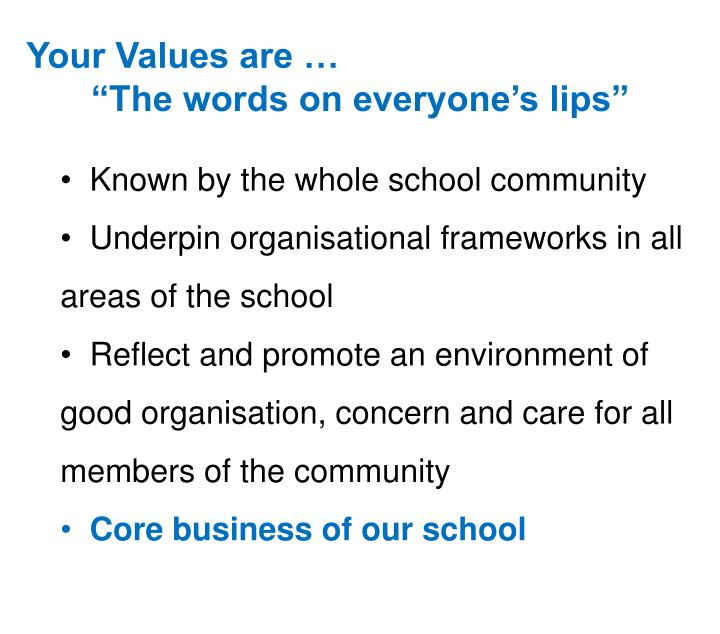 Your Values are …