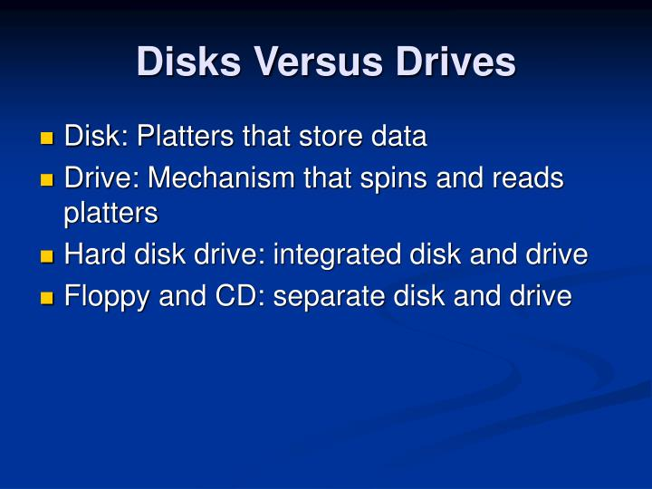 Disks Versus Drives