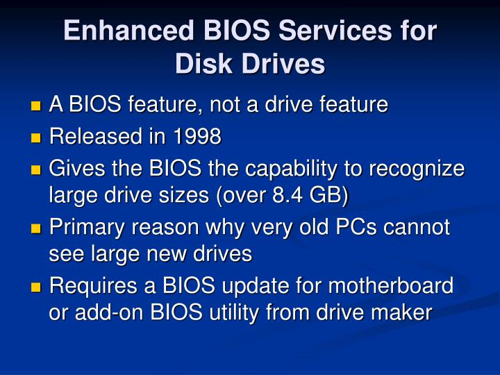 Enhanced BIOS Services for Disk Drives