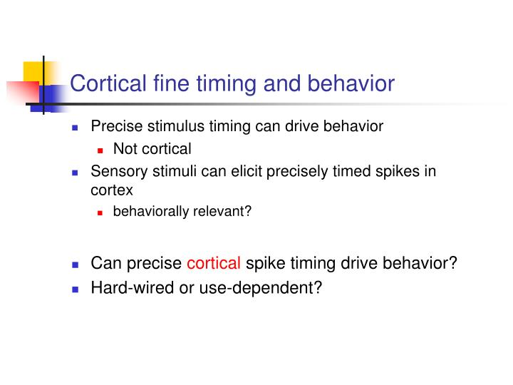 Cortical fine timing and behavior
