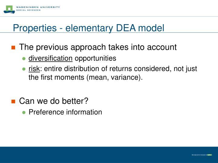 Properties - elementary DEA model