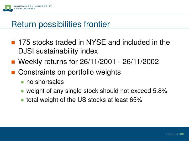 Return possibilities frontier