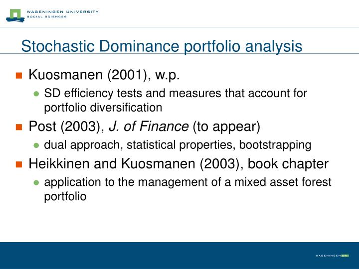 Stochastic Dominance portfolio analysis