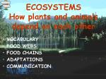 ecosystems how plants and animals depend on each other