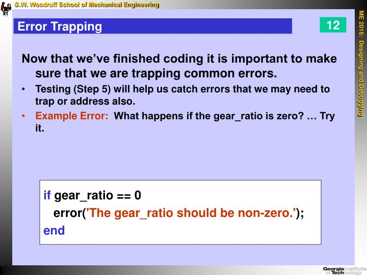 Error Trapping