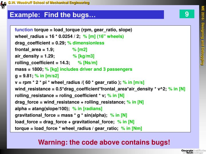 Example:  Find the bugs…