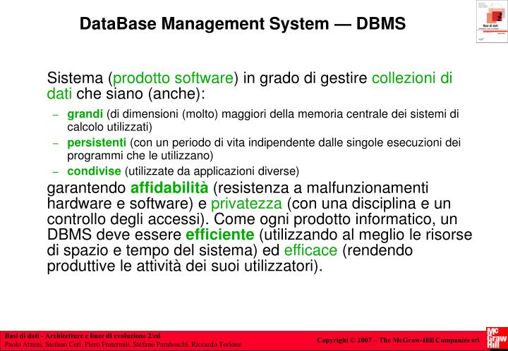 DataBase Management System — DBMS