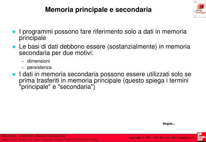 Memoria principale e secondaria