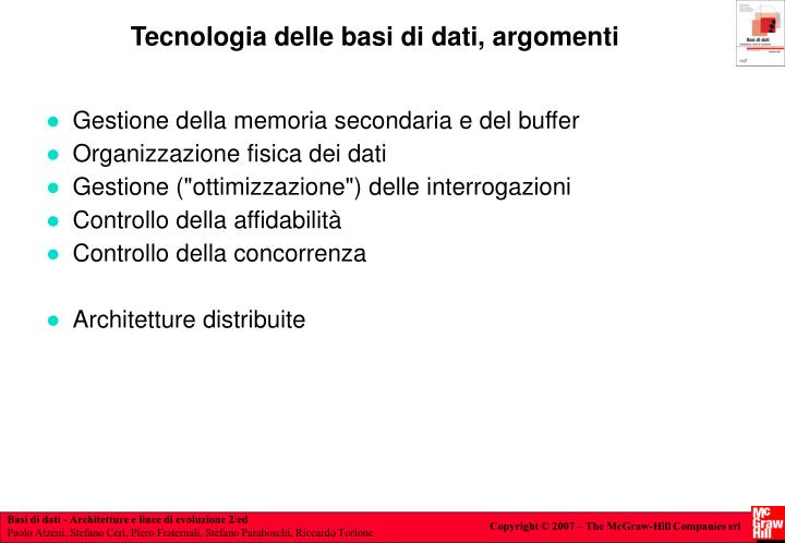 Tecnologia delle basi di dati, argomenti