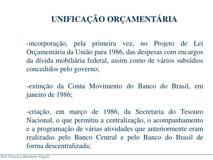 UNIFICAO ORAMENTRIA