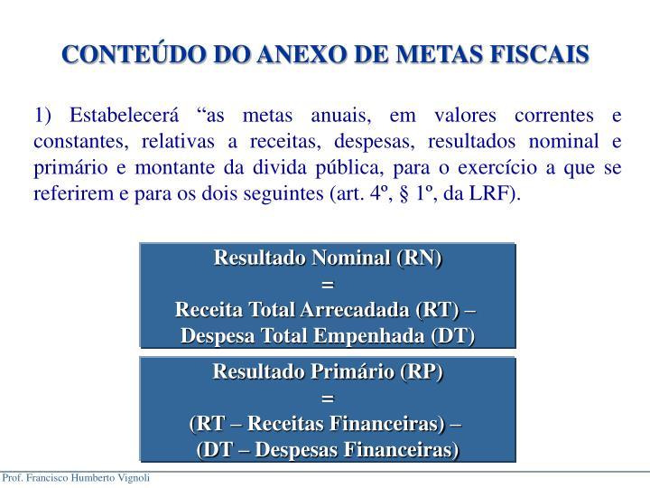 CONTEDO DO ANEXO DE METAS FISCAIS