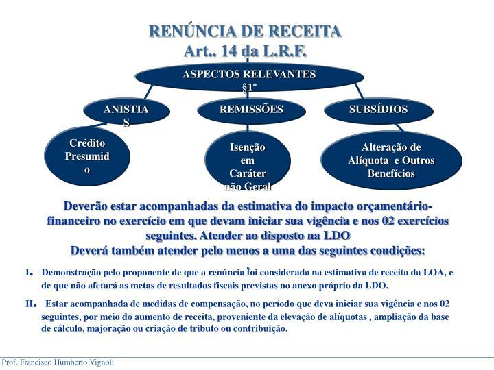 RENNCIA DE RECEITA
