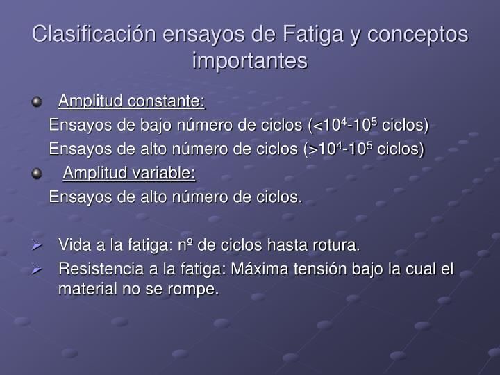 Clasificación ensayos de Fatiga y conceptos importantes