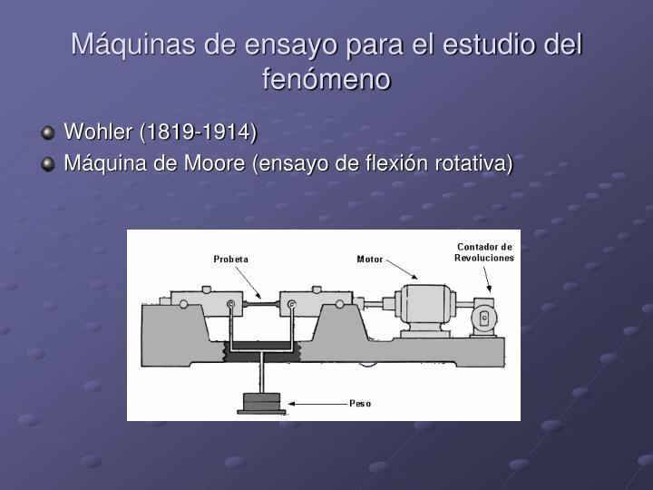 Máquinas de ensayo para el estudio del fenómeno