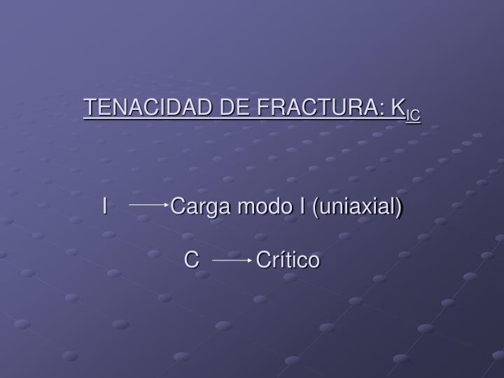 TENACIDAD DE FRACTURA: K