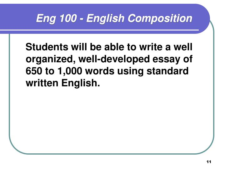 Eng 100 - English Composition
