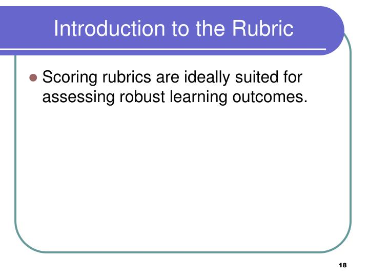 Introduction to the Rubric