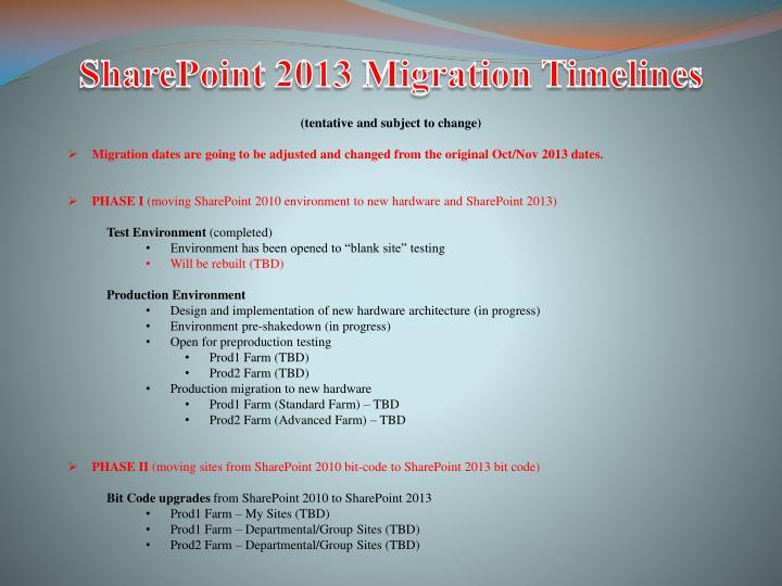 SharePoint 2013 Migration Timelines