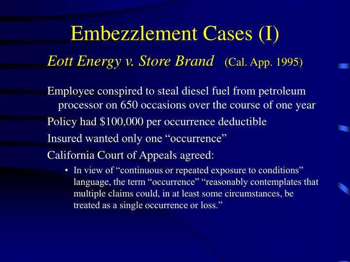 Embezzlement Cases (I)