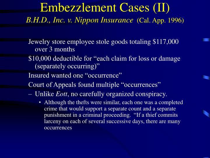 Embezzlement Cases (II)
