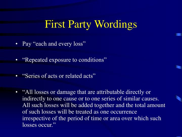 First Party Wordings
