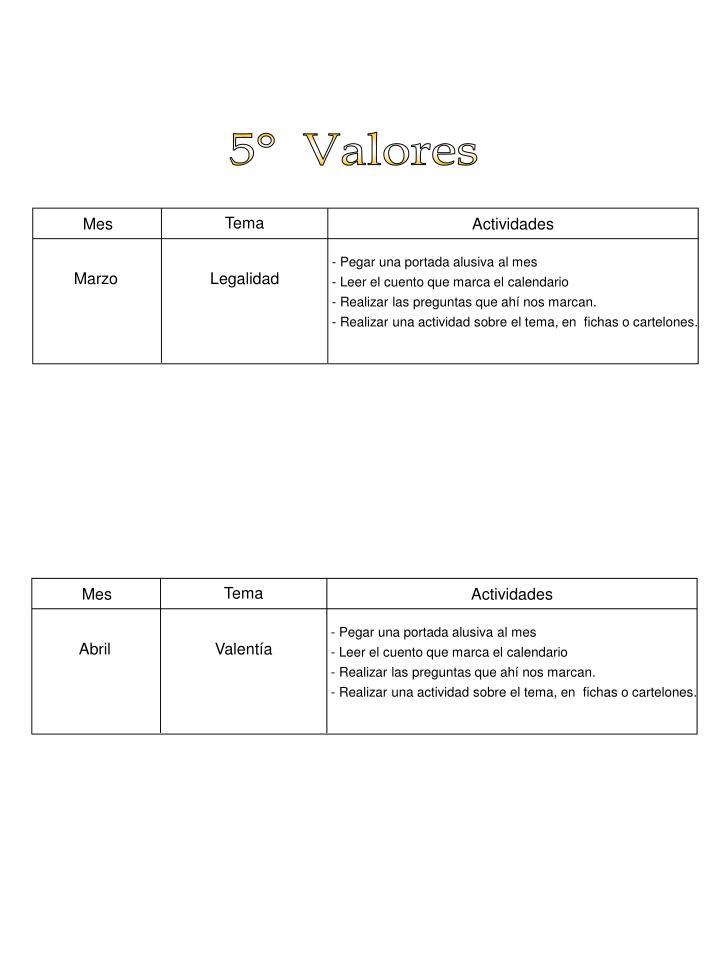 5°  Valores