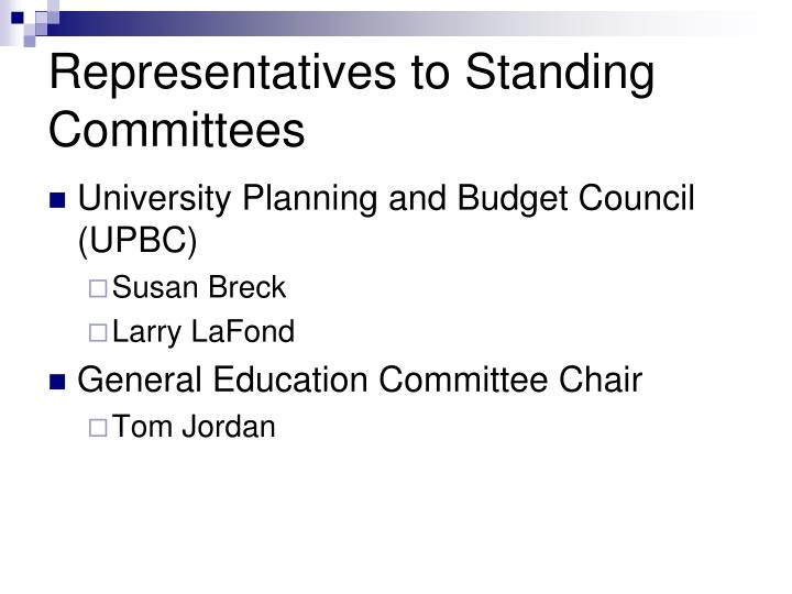 Representatives to Standing Committees