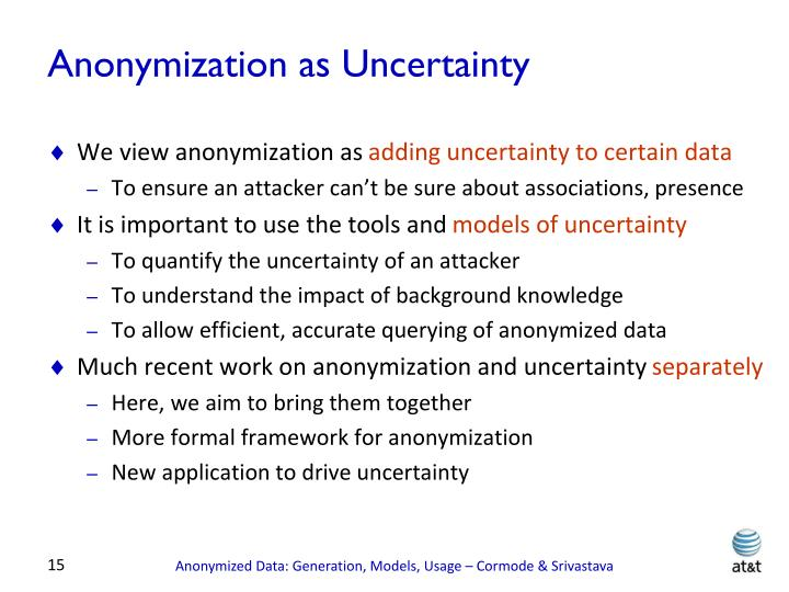 Anonymization as Uncertainty
