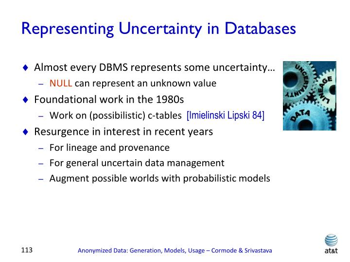 Representing Uncertainty in Databases