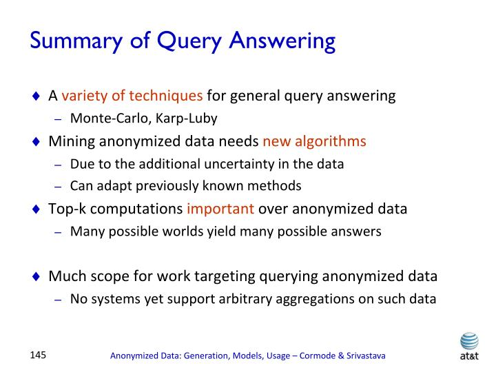 Summary of Query Answering