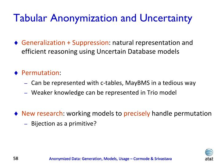 Tabular Anonymization and Uncertainty
