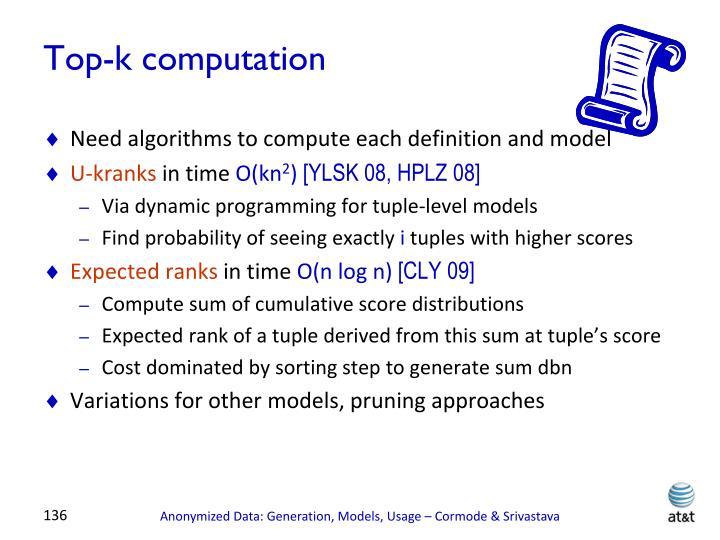 Top-k computation