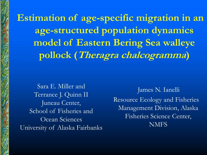 Estimation of age-specific migration in an age-structured population dynamics model of Eastern Bering Sea walleye pollock (