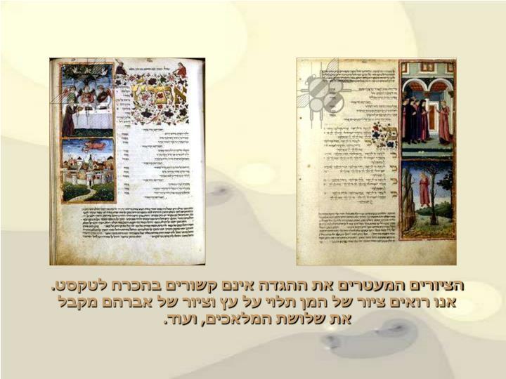 הציורים המעטרים את ההגדה אינם קשורים בהכרח לטקסט.      אנו רואים ציור של המן תלוי על עץ וציור של אברהם מקבל      את שלושת המלאכים, ועוד.