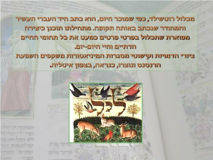 מכלול רוטשילד, כפי שמוכר היום, הוא כתב היד העברי העשיר והמהודר שנכתב באותה תקופה. מתחילתו תוכנן כיצירה מפוארת שתכלול בפרטי פרטים כמעט את כל תחומי החיים הדתיים וחיי היום-יום.