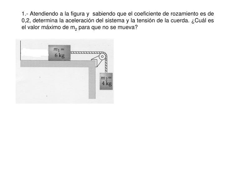 1.- Atendiendo a la figura y  sabiendo que el coeficiente de rozamiento es de 0,2, determina la aceleración del sistema y la tensión de la cuerda. ¿Cuál es el valor máximo de m