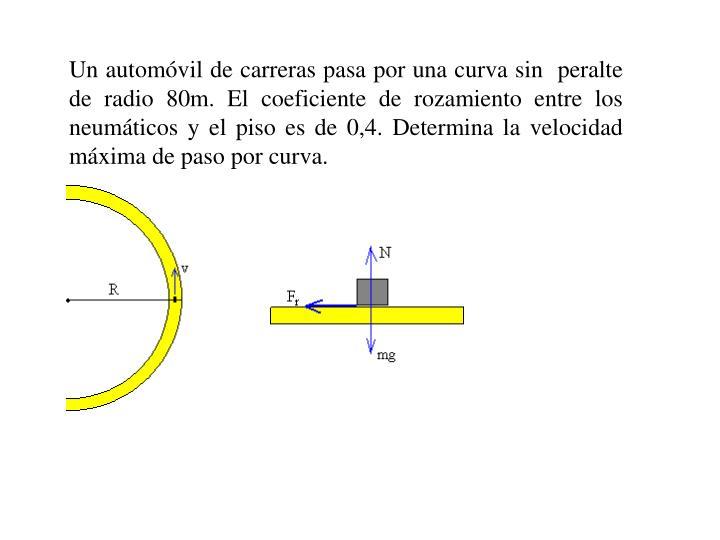 Un automóvil de carreras pasa por una curva sin  peralte de radio 80m. El coeficiente de rozamiento entre los neumáticos y el piso es de 0,4. Determina la velocidad máxima de paso por curva.