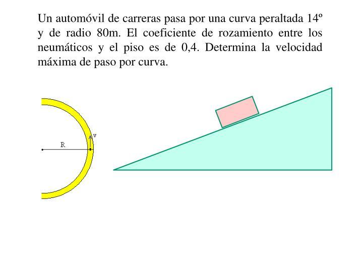 Un automóvil de carreras pasa por una curva peraltada 14º y de radio 80m. El coeficiente de rozamiento entre los neumáticos y el piso es de 0,4. Determina la velocidad máxima de paso por curva.