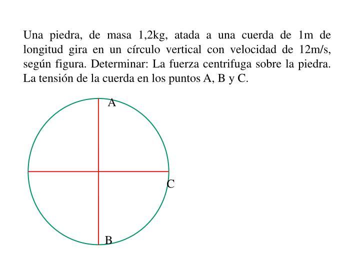 Una piedra, de masa 1,2kg, atada a una cuerda de 1m de longitud gira en un círculo vertical con velocidad de 12m/s, según figura. Determinar: La fuerza centrifuga sobre la piedra. La tensión de la cuerda en los puntos A, B y C.