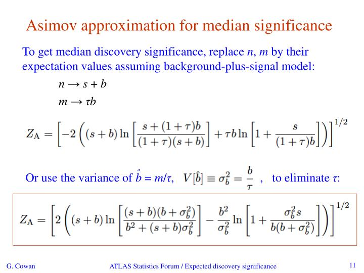 Asimov approximation for median significance