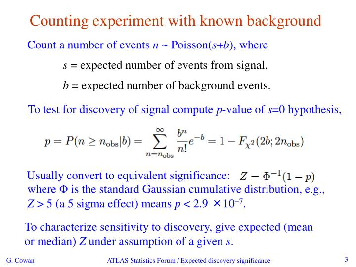 Counting experiment with known background