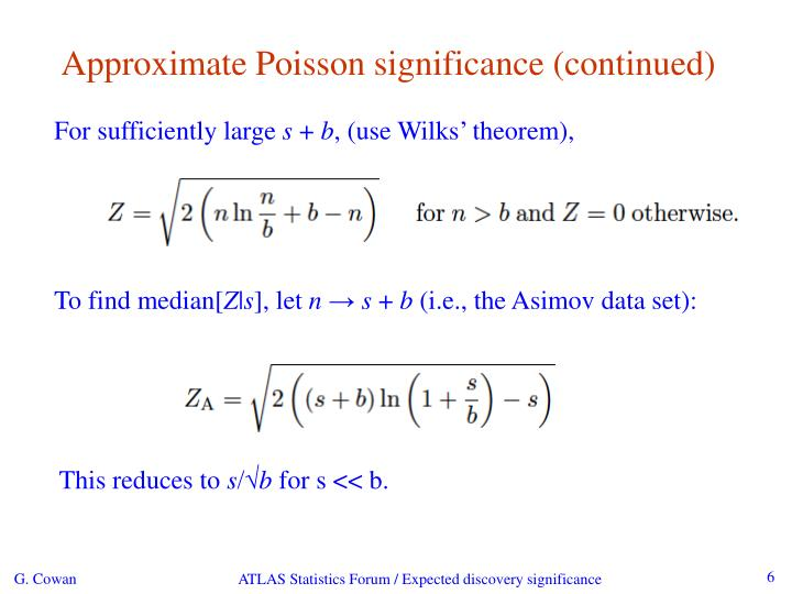 Approximate Poisson significance (continued)
