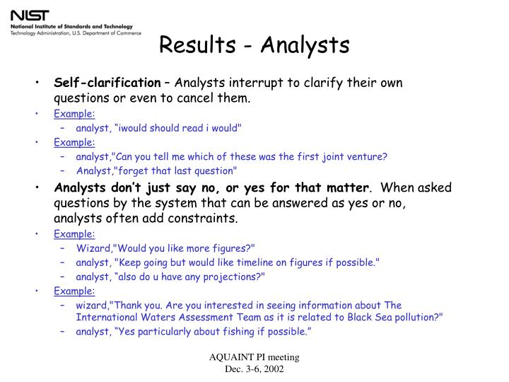 Results - Analysts